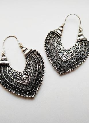 Новые красивые этнические серьги сережки бохо под черненное серебро