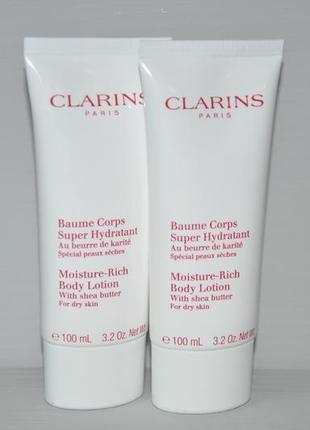 Увлажняющий лосьон для сухой кожи тела clarins moisture-rich body lotion  объем 100мл