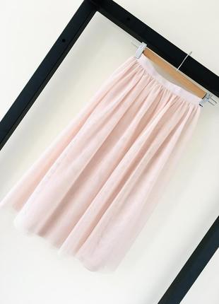 Новая нежно розовая юбка h&m юбка сетка складки