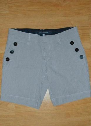 Шорты дания бермуды джинсовые в полоску высокая талия посадка 98% хлопок р. м