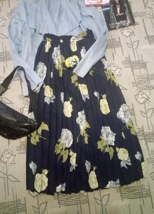 Распродажа!красивая шифоновая плиссерованная юбка миди! размер 16-18