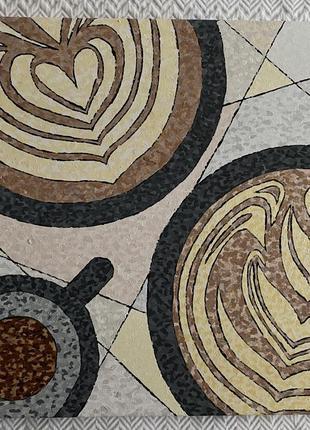 Картина чашки кофе латте арт акрилом пастельных тонов @don.bacon