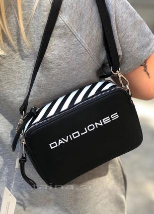 Базовый черный с белым клатч david jones 6169-1 оригинал сумка кроссбоди через плечо