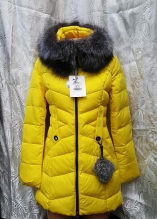 Куртка - пуховик/тинсулейт/с капюшоном и натуральным мехом