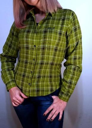 Рубашка  jack wolfskin зеленая в клетку байковая рубашка клетчатая