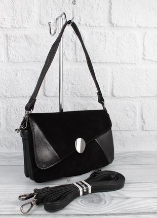 Небольшая сумочка gilda tohetti 62089 черная с замшевой вставкой