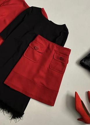 Крутая юбка трапеция с накладными карманами marks&spencer