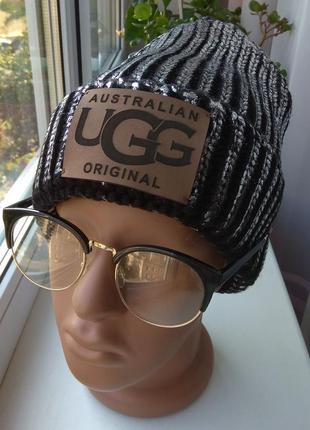 Новая модная шапка с металлическим блеском (на флисе), черная