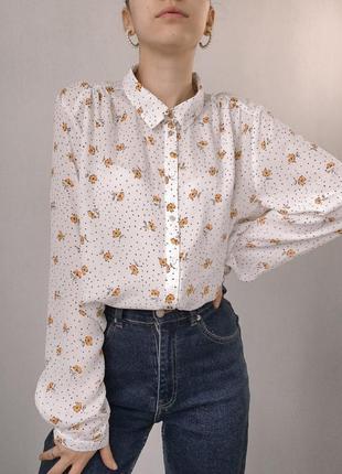 Рубашка под винтаж в цветочный принт,  объемная, длинная, оверсайз, блуза нарядная