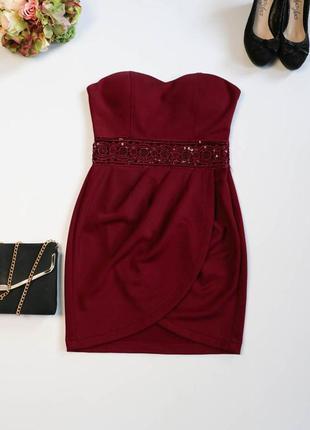 Платье бюстье с ажурной вставкой.