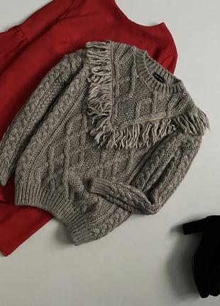 Уютный свитер с косами крупной вязки с шерстью new look