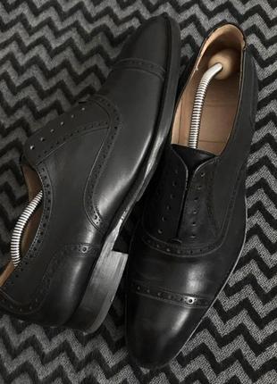 Мужские классические ботинки туфли дерби броги чёрные 40/41