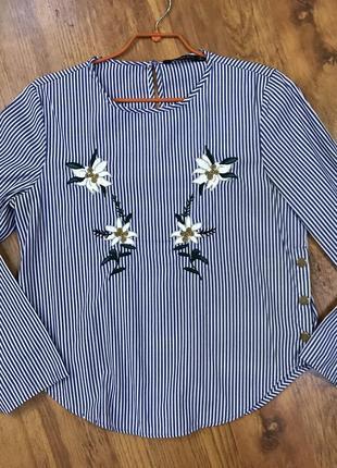 Свободная полосатая рубашка zara в полоску