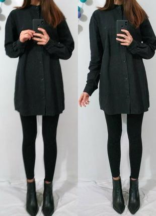 Стильная черная рубашка оверсайз