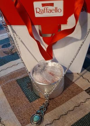 Красивый кулон в тибетском стиле на цепочке змейке