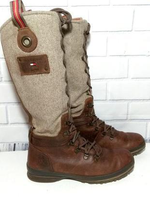 Натуральные , кожаные сапоги / ботинки на шнуровке , демисезонные tommy hilfiger