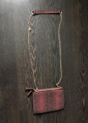 Клатч змеиный принт ,сумка длинная ручка цепочка by jane shilton