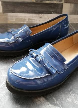 Лоферы синие лаковые 37р