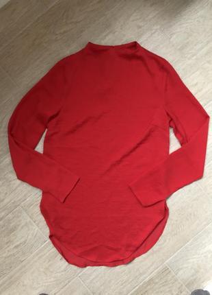 Женская новая удлинённая рубашка блуза с воротником стойкой красного цвета