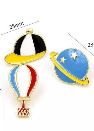 Набор пинов значков брошь кепка  воздушный шар планета космос