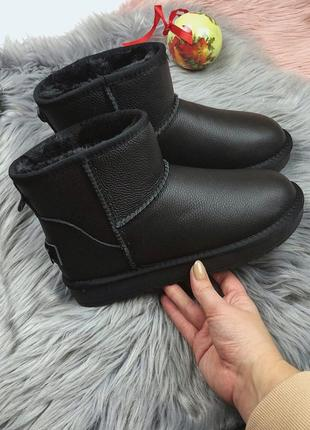 Новые женские зимние кожаные черные угги сапоги