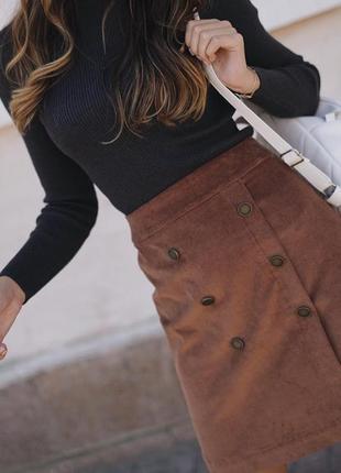 Шикарная вельветовая мини юбка