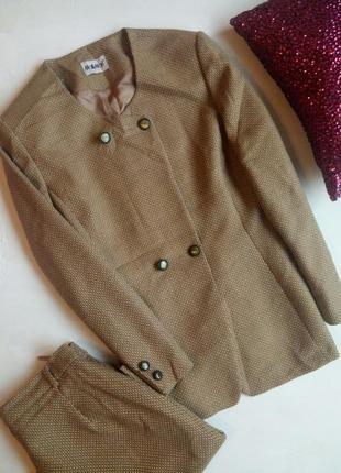 Шерстяной костюм твидовый костюм винтажный  пиджак юбка