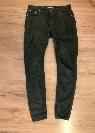 Темно-зелені вельветові штани zara