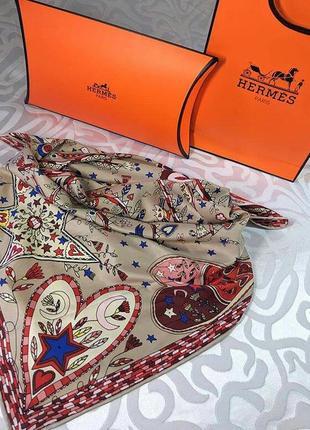 Шикарный шелковый платок с ручной обработкой края