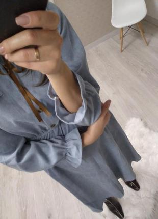 Вельветовое голубое платье