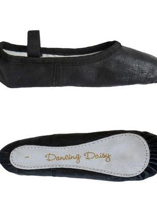 Балетки спортивные для гимнастики dancing daisy boys or girls black leather ballet shoes2 фото