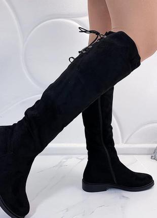 Новые шикарные женские зимние черные сапоги