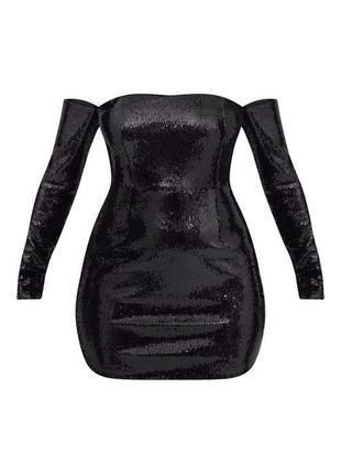 Роскошное вечернее платье в черных пайетках, сияет, силуэтное со спущенными плечами, plt 💔5 фото