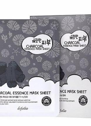 Маска тканевая c углем esfolio pure skin essence charcoal mask sheet