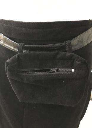 Юбка макси(длина 94) из замши с прикольным поясом с кармашком