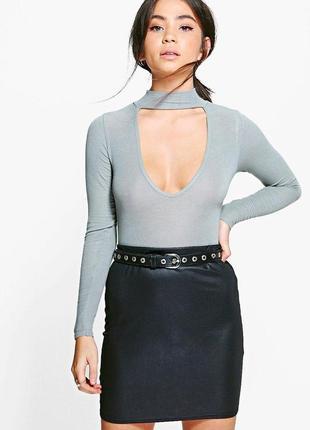 Новая черная мини юбка с пропиткой boohoo