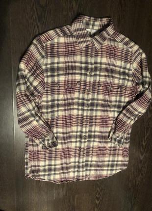 Удлиненная рубашка в клеточку ,рубашка оверсайз