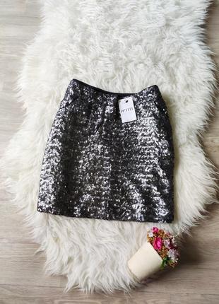 Новая короткая юбка в пайетки next