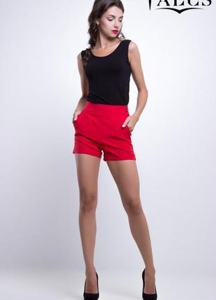 Красные стильные шорты, высокая посадка stradivarius