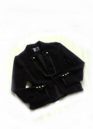 Черный велюровый пиджак-жакет р 16 стрейчевый