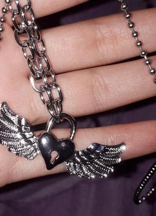 Цепь подвеска кулон замок сердце с крыльями серебрянный