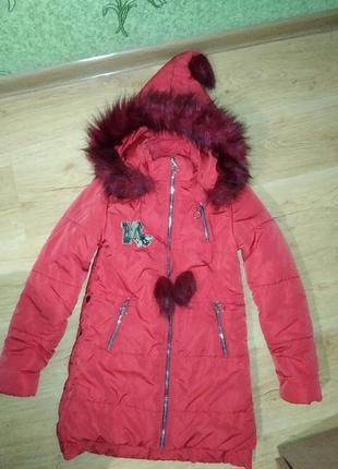 Зимнее пальто на 8_9 лет рост 134 см