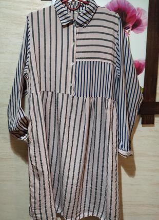 Актуальна сукня  рубашка оверсайз в полоску💓 італія 💓