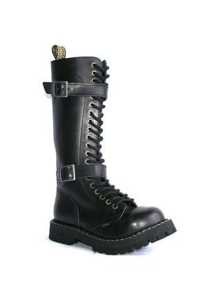 Высокие ботинки steel черные с ремешками, 20 дырок