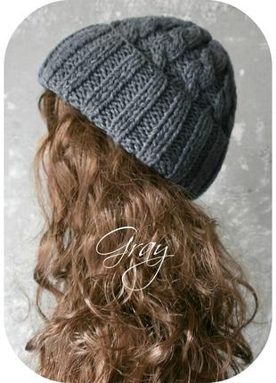 Любая расцветка! осталась последняя! хлопковая шапка с отворотом/косы/серого цвета