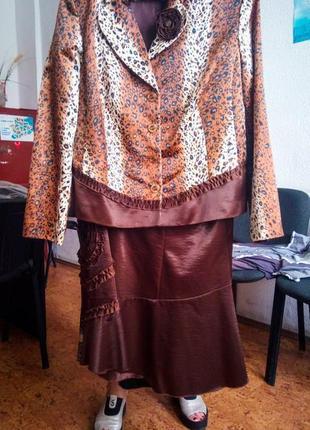 Плюс сайз костюм шоколадный пиджак и юбка коричневый животный принт тигровый классический