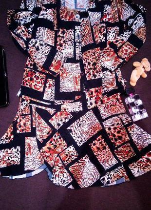 Костюм юбка пиджак животный леопардовый принт черный большой батал