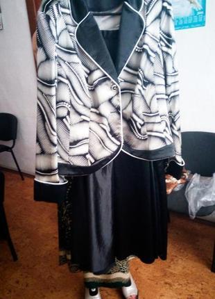 Плюс сайз костюм пиджак с юбкой белый с черным классический офисный деловой