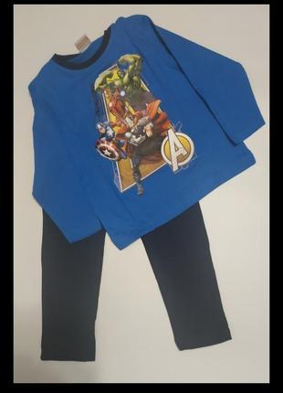 Хлопковая пижама marvel для мальчика 104-110.