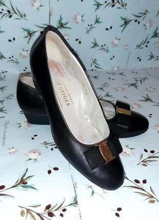🌿1+1=3 фирменные кожаные черные туфли балетки (натур.кожа), размер 37 - 37,5